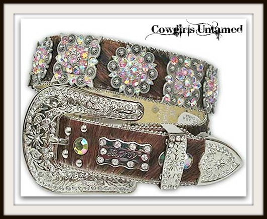 COWGIRL STYLE BELT Antique Silver Crystal Concho's on Brown Hair on Hide Western Belt