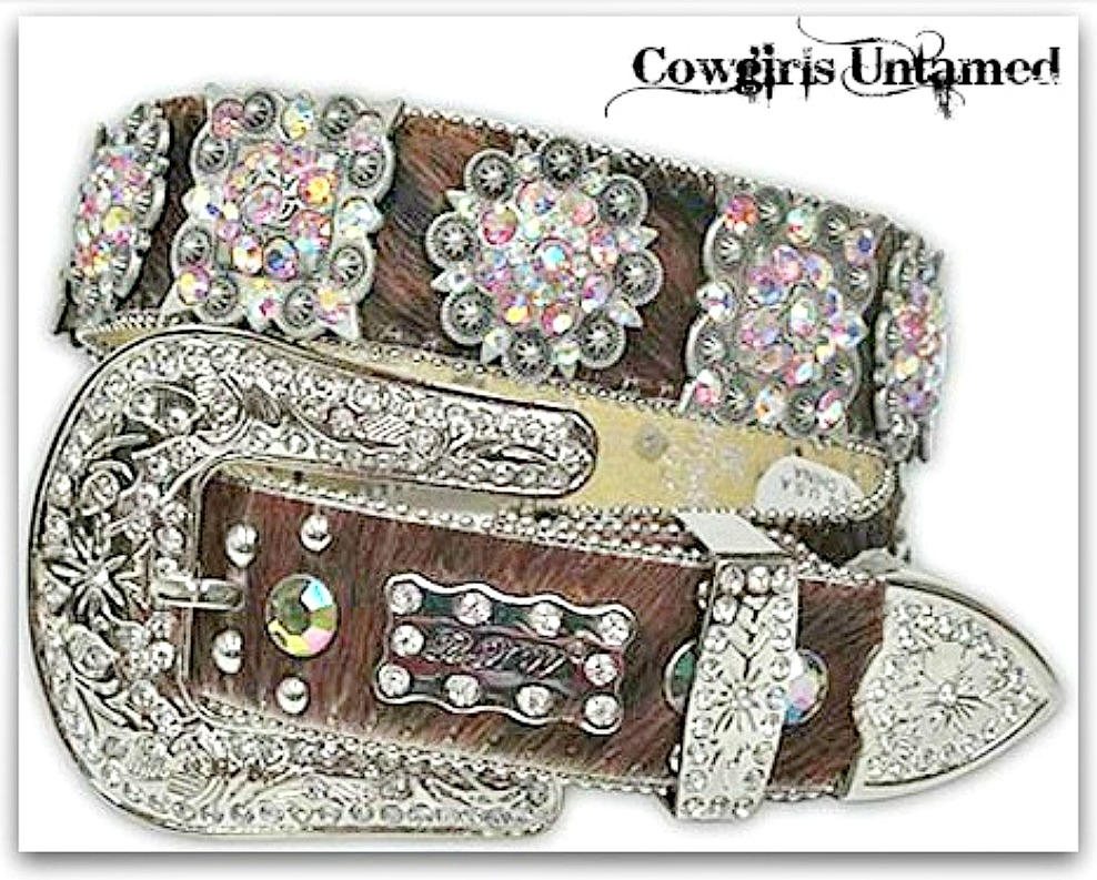 COWGIRL STYLE BELT Antique Silver Crystal Concho's on Brown Hair on Hide Western Belt  LAST ONE Med