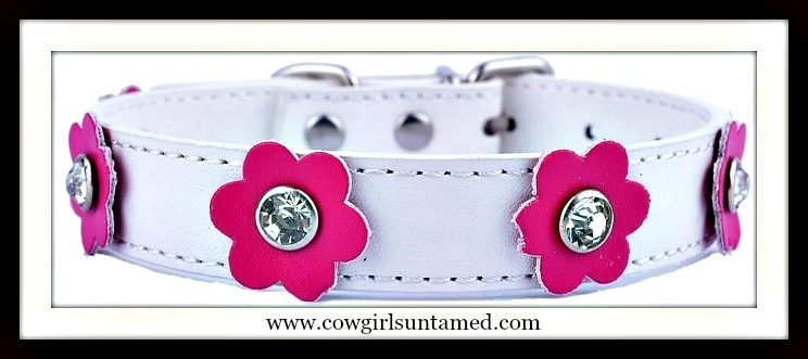 BLINGIN' BESTIES COLLAR Crystal Pink Flower on White Leather Collar