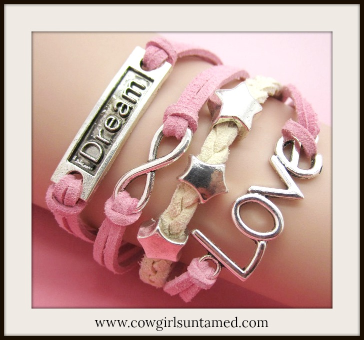 "RODEO REBEL BRACELET Silver ""Dream"", ""Love"", Stars N Infinity Charms on Pink N Tan Multi Strand Bracelet"