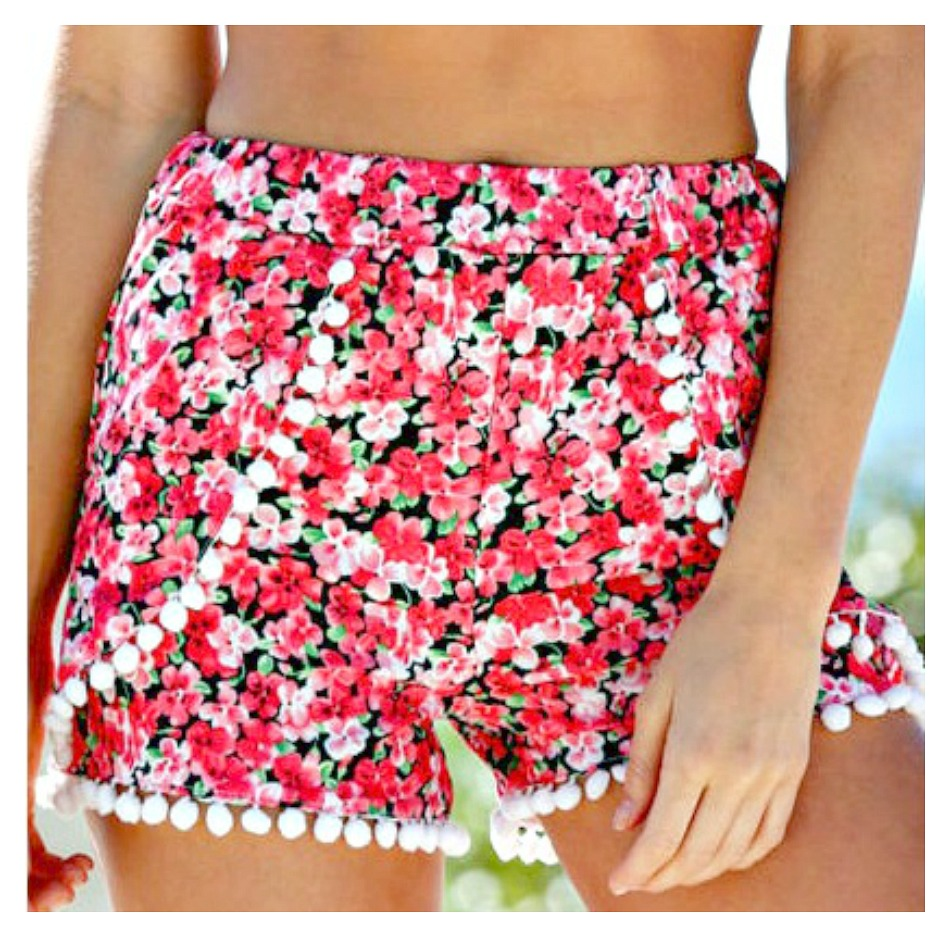 PRETTY in PINK SHORTS Pink & Black Floral with Pom Pom Trim Boho Shorts  Sizes One Size