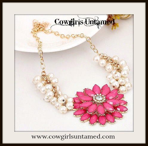 COWGIRL GLAM NECKLACE Hot Pink Flower on Pearl and Gold Chain Necklace