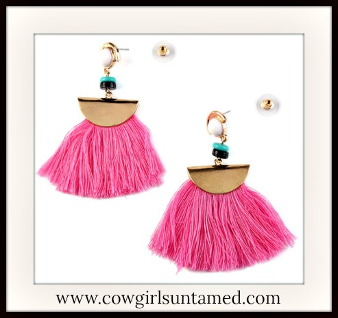 COWGIRL GYPSY EARRINGS Pink Fringe Beaded Golden Earrings