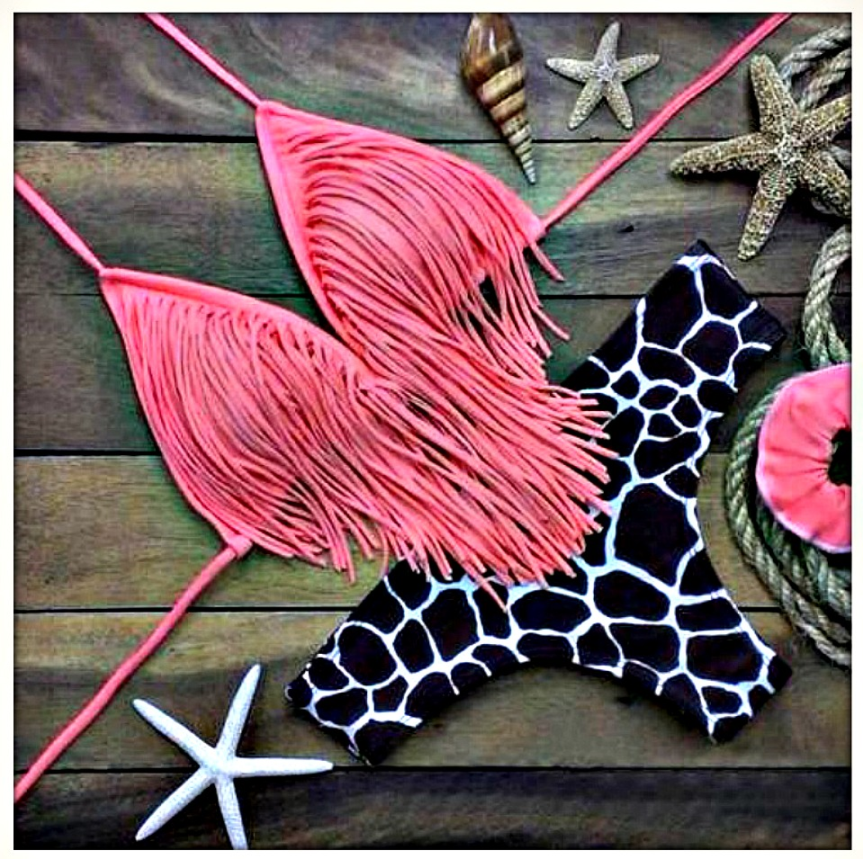 ON THE PROWL BIKINI Pink Fringe Top Animal Print Bottom Bikini