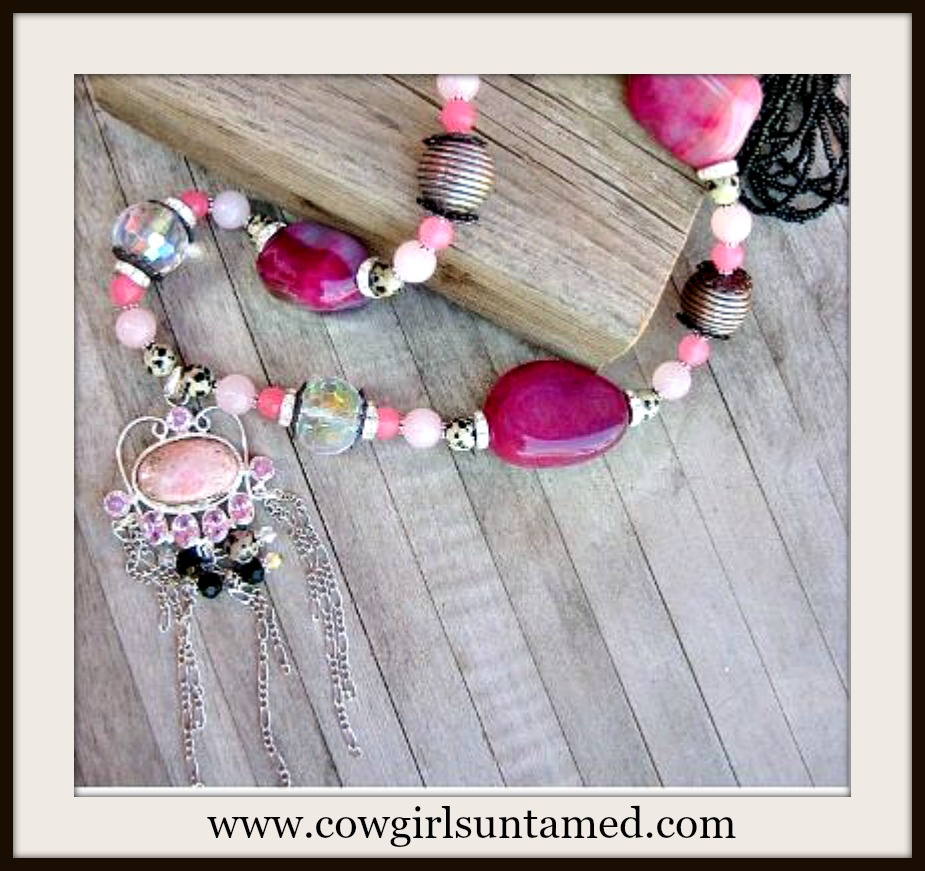 COWGIRL GYPSY NECKLACE Pink Gemstones 925 Sterling Silver Pendant Beaded Necklace