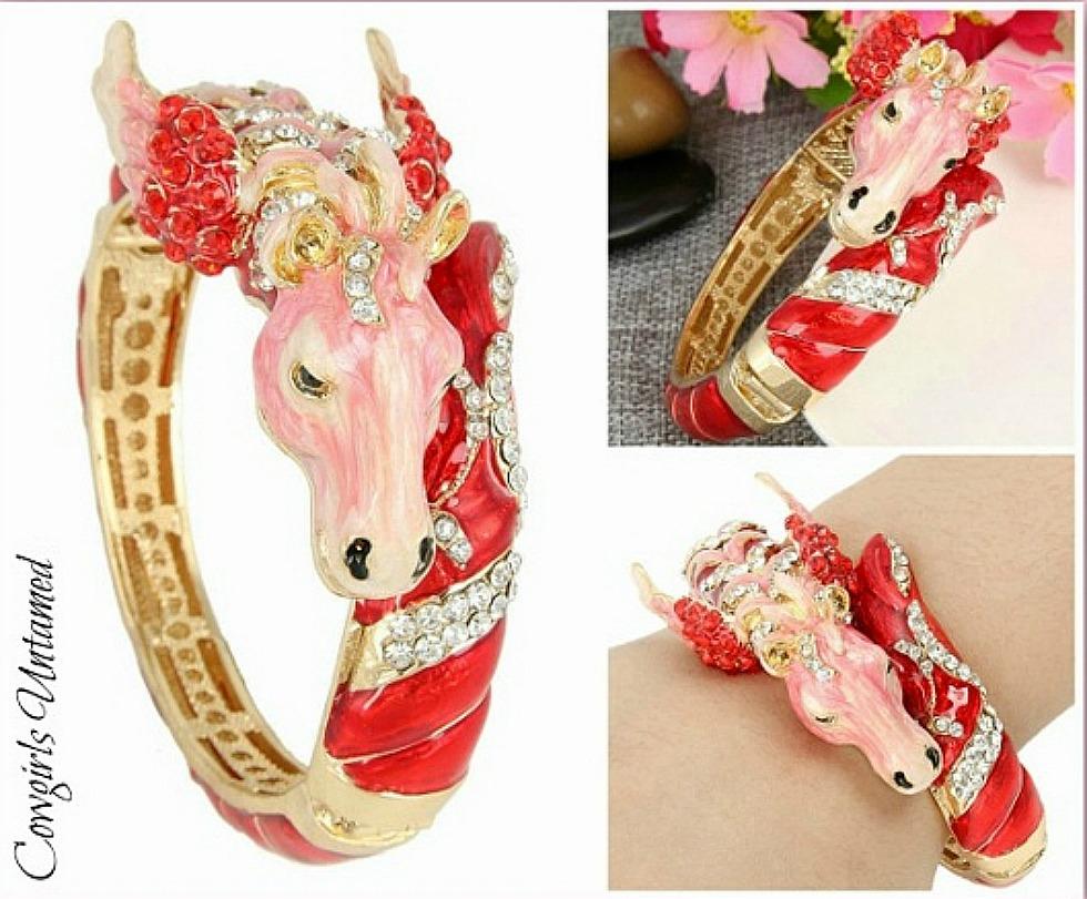 HORSE LOVIN' COWGIRL CUFF Red & Pink Crystal Enamel & Austrian Crystal Pegasus Horse Gold Western Cuff LAST ONE