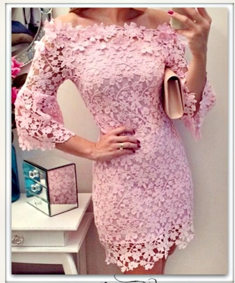 THE SOPHIA DRESS Pink Lace On or Off the Shoulder 3/4 Bell Sleeve Mini Dress