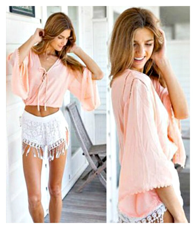 WILDFLOWER TOP Pink Lace Trim Tie Front V Neck Oversized Boho Crop Top