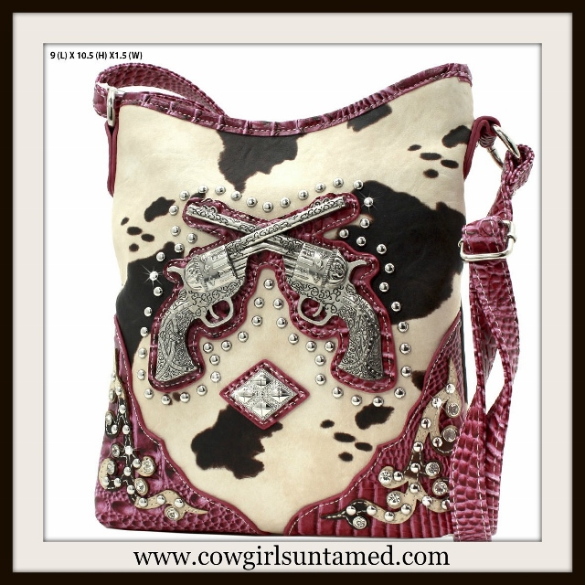 COWGIRL OUTLAW BAG Silver Crystal Sixshooter Cowhide and Pink Leather Messenger Bag
