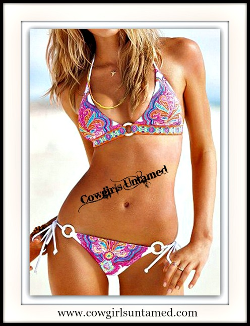 WILDFLOWER BIKINI Aqua Orange Hot Pink Morrocan Tribal Pattern Boho Gypsy White String Bikini