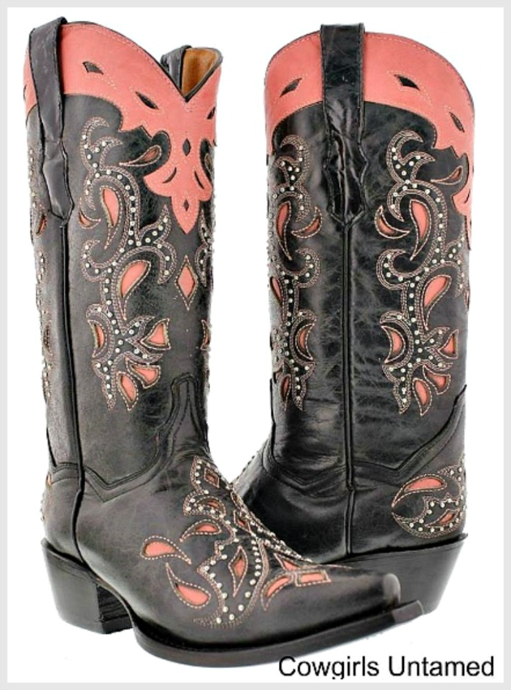COWGIRL STYLE BOOTS Pink & Black Paisley Inlay Studded Genuine Leather Western Boots