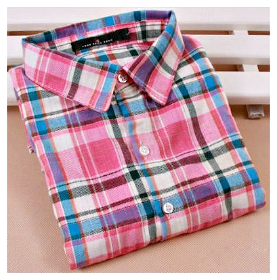 PRETTY in PLAID SHIRT Button Down Pink Aqua Plaid Collared Flannel Shirt