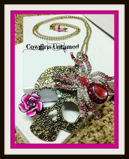 REBEL SOUL NECKLACE Pink Rhinestone Spider Antique Bronze Floral Skull