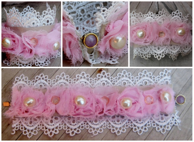 COWGIRL GYPSY CUFF White Lace N Pink Rosettes with Pearls Crystals Accents & Amethyst Closure on Leather Backed Western Cuff Bracelet