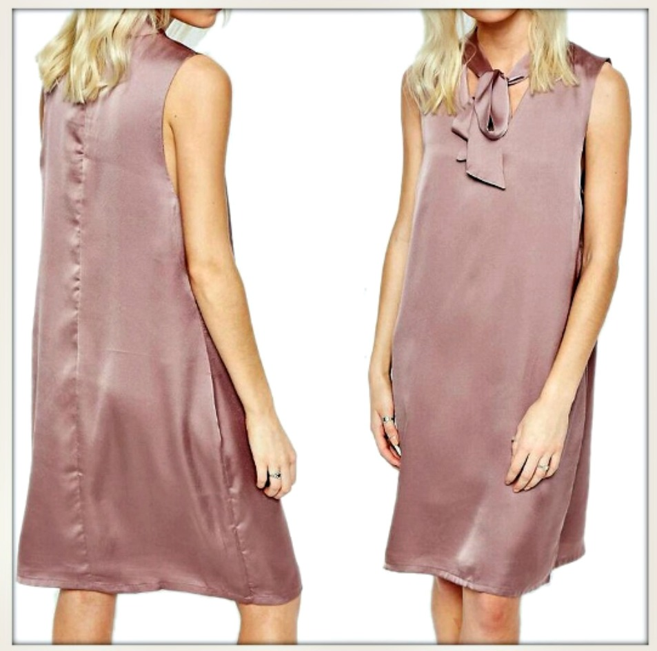 DESIGNER DRESS Dusty Pink Satin Sheath Sleeveless Dress  LAST ONE  L/XL