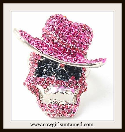 COWGIRL GYPSY RING Pink CZ Rhinestone Crystal Western Cowgirl Skull Stretchy Silver Western Ring