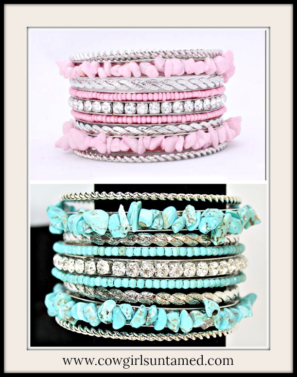 COWGIRL GLAM BRACELET Turquoise Stone Chip N Rhinestone N Silver Western Bangle Set 2 COLORS!