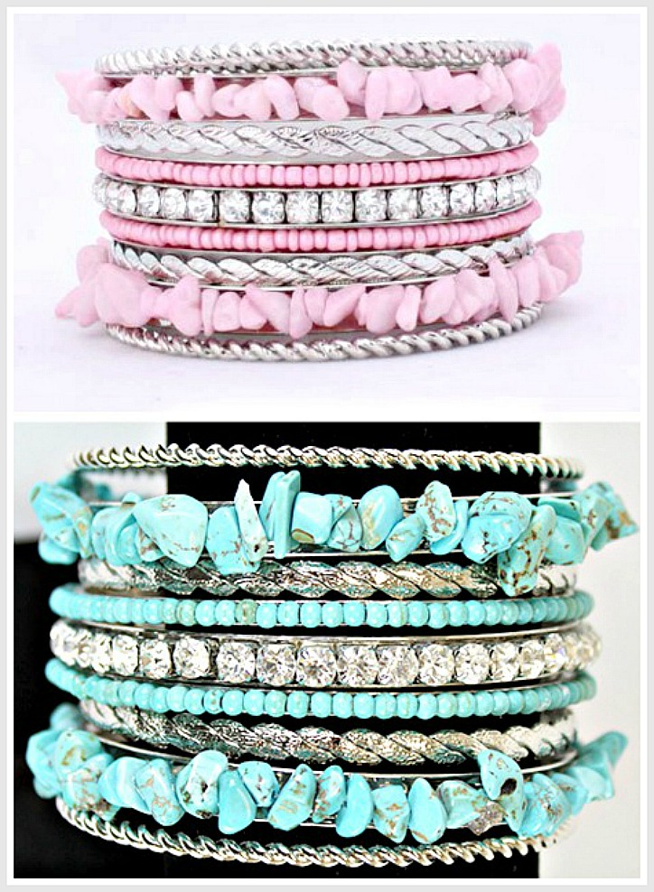 COWGIRL GLAM BRACELET SET Turquoise Stone Chip N Rhinestone N Silver Western Bangle Set 2 COLORS!