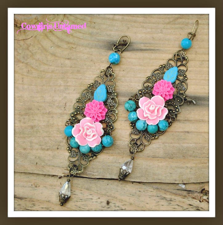 WILDFLOWER EARRINGS Pink Flowers & Turquoise on Antique Bronze Long Filigree Boho Earrings