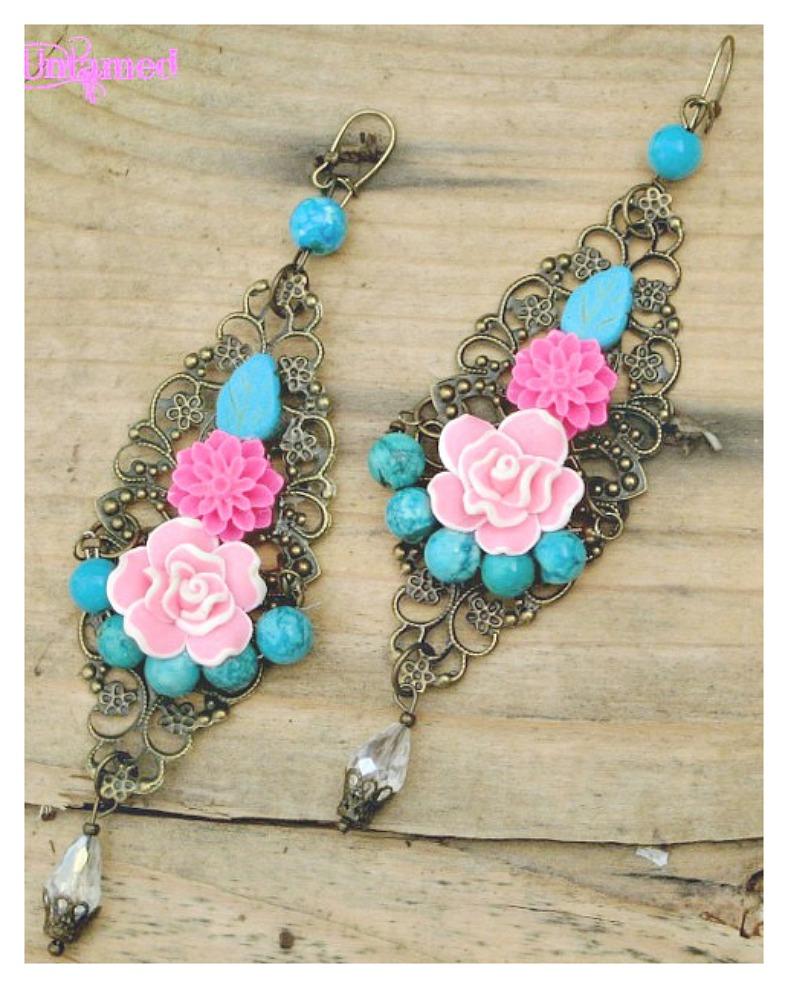 WILDFLOWER EARRINGS Pink Flowers & Turquoise on Antique Bronze Long Filigree Boho Earrings