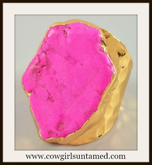 WESTERN COWGIRL RING Genuine Pink Howlite Turquoise Gold Plated Ring