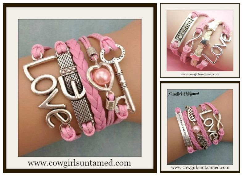 """BUCKLE UP BRACELET Silver """"Love"""" Charms on Pink Multi Strand Bracelet"""
