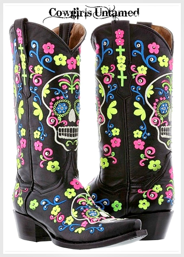 COWGIRLS ROCK BOOTS Multi Color Floral Embroidery & Sugar Skull Silver Crystal Studded Black Leather Boots