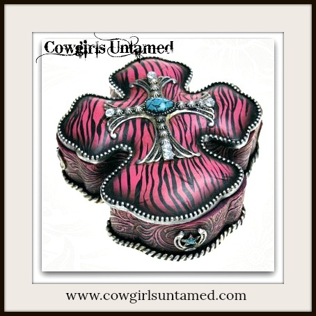 COWGIRL STYLE DECOR Pink Zebra Cross Layered with Silver Turquoise Cross Horseshoe & Star on End Western Jewelry Box