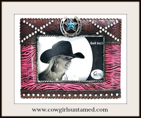 COWGIRL STYLE DECOR Pink Zebra Horseshoe Turquoise Star Western Photo Frame