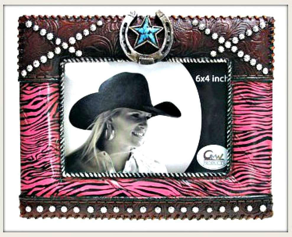 COWGIRL STYLE DECOR Pink Zebra Horseshoe Turquoise Star Western Photo Frame LAST ONE!