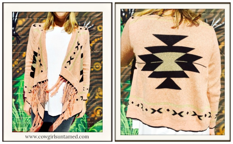 COWGIRL GYPSY SWEATER Pink Black & Gold Boho Fringe Cardigan LAST ONE!