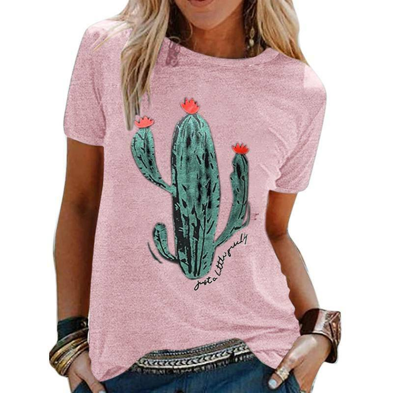 JUST A LITTLE GUILTY TEE Floral Green Cactus Short Sleeve Pink T-Shirt Top S-XL