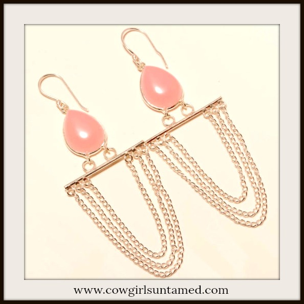 BOHEMIAN COWGIRL EARRINGS Pink Chalcedony Sterling Silver Chain Earrings