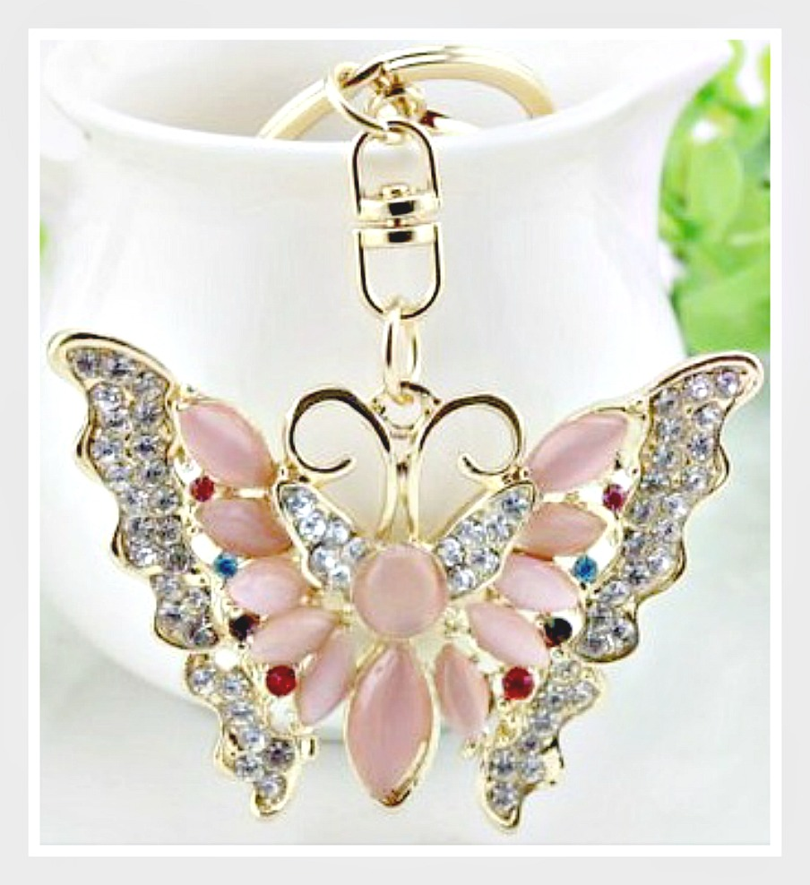 GOING GLAM KEYCHAIN Rhinestone & Pink Crystal Golden Butterfly Handbag Accessory