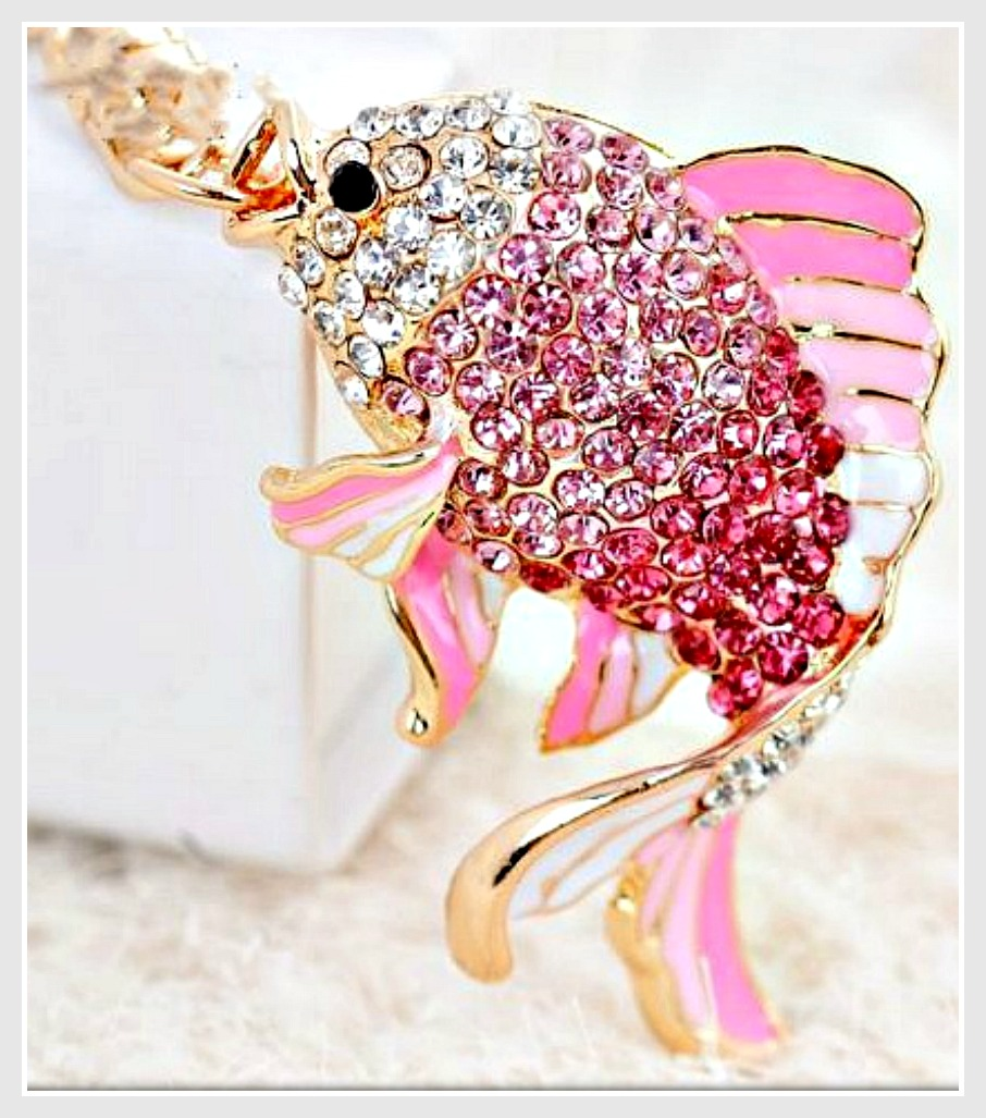 GOING GLAM KEYCHAIN Pink Ombre and White Crystal & Enamel Fish Handbag Accessory Key Ring