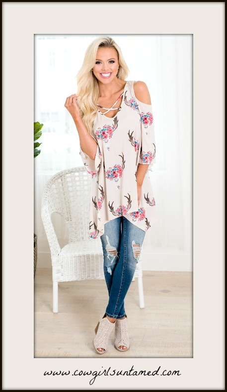 COWGIRL GYPSY TOP Criss Cross Cold Shoulder Floral Garland Deer Horn Tunic Top