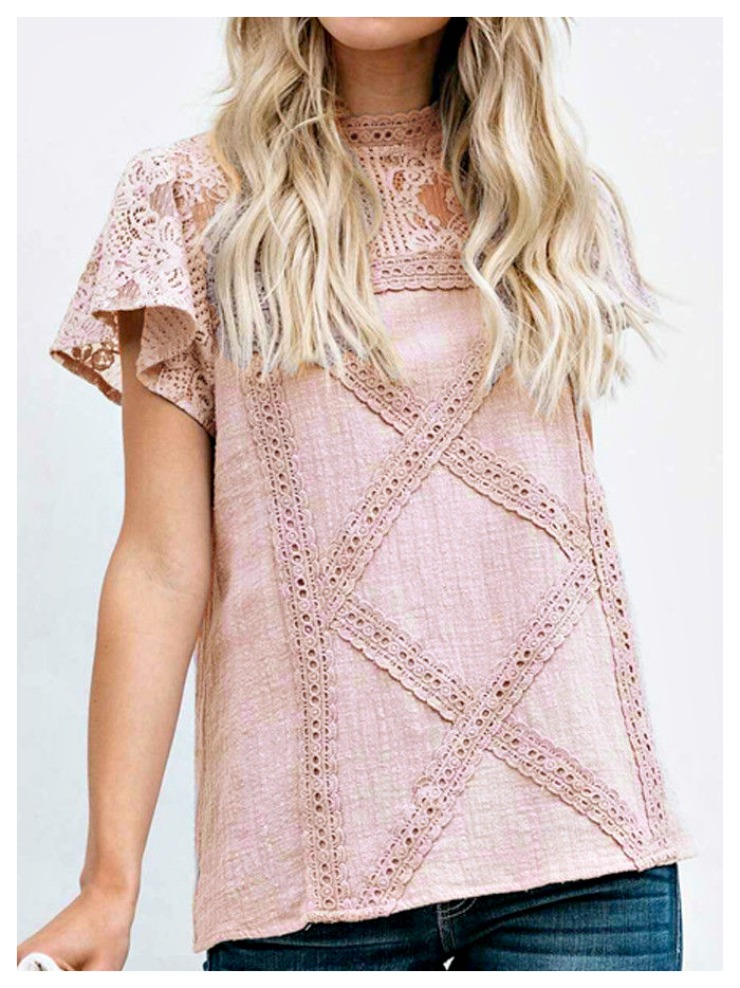 THE NAOMI TOP Pink High Neck Short Sleeve Loose Fit Lace Top