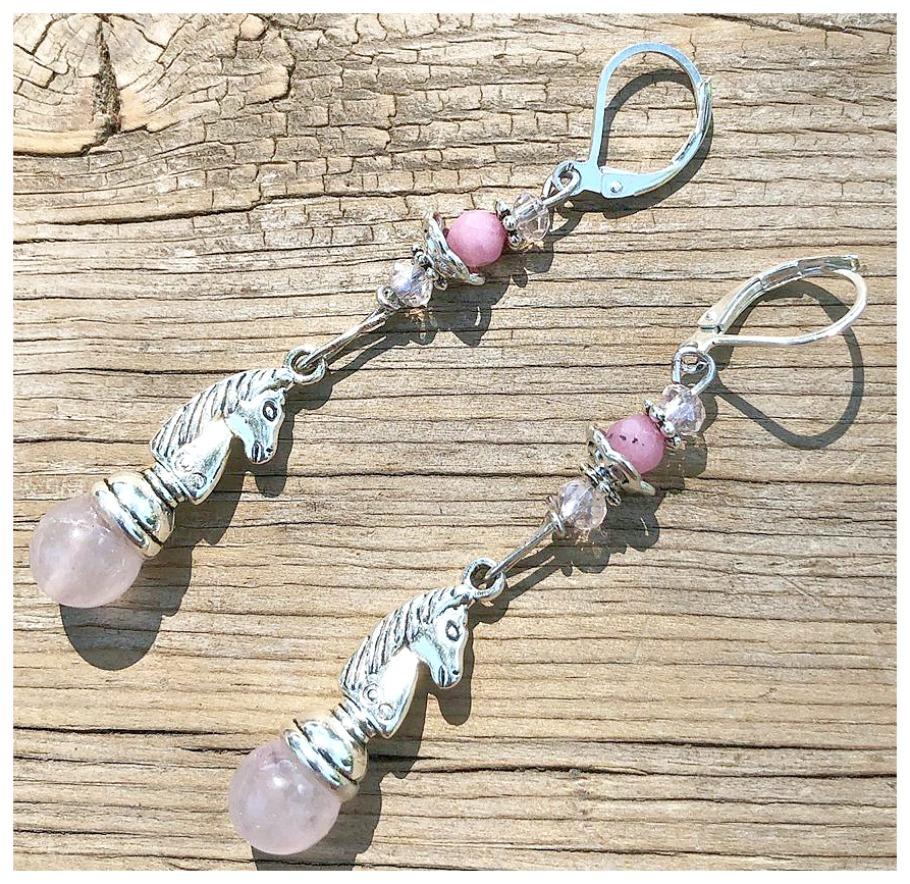 COWGIRL STYLE EARRINGS Pink Jade & Pink Ruby Gemstone Crystal Silver Horse Earrings