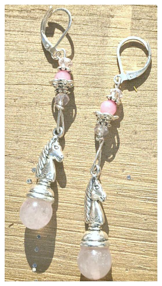 COWGIRL STYLE EARRINGS Pink Jade and Ruby Gemstone Crystal Silver Horse Earrings