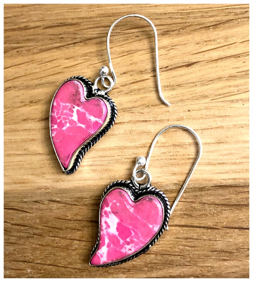 THE SWEETHEART EARRINGS 925 Sterling Silver Pink Turquoise Heart Shaped Dangle Earrings