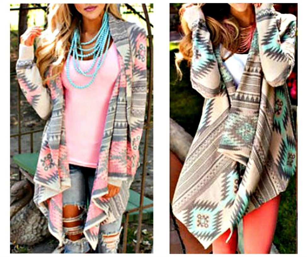 COWGIRL GYPSY SWEATER Tribal Knit Long Sleeve Asymmetric Hem Western Cardigan MISSES & PLUS Pink or Mint