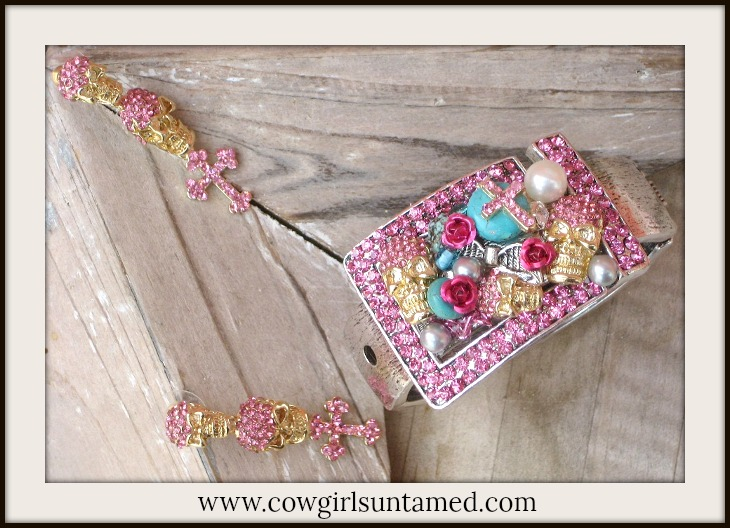 COWGIRL GYPSY CUFF SET Pink Rhinestone Custom Skull n Cross Western Cuff Bracelet & Earrings SET