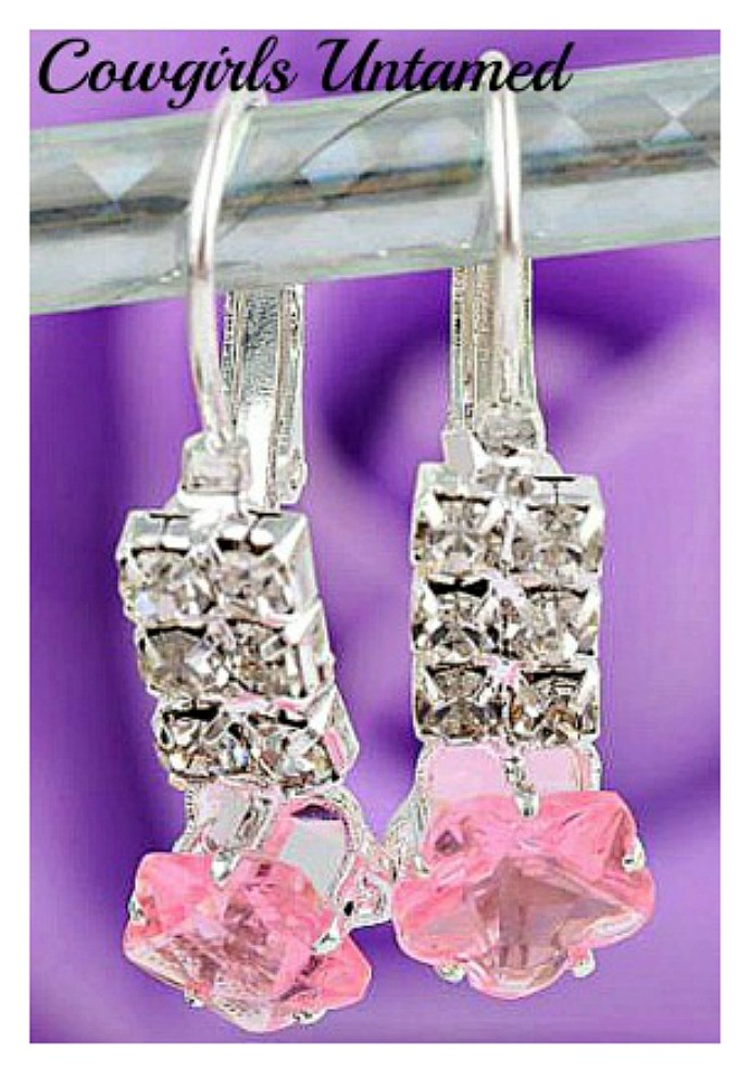 TOUCH OF GLAM EARRINGS Pink Gemstone Sterling Silver Plated Dangle Earrings