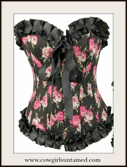 CORSET - Pink Roses on Black Satin N Ruffle Lace Up Back Western Corset Top