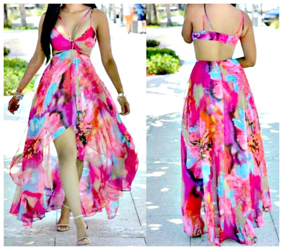 TROPICANA DRESS Pink Floral Open Back Semi Sheer High Low Chiffon Maxi Dress  LAST ONE M/L