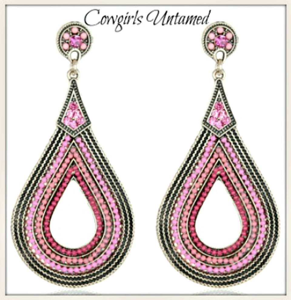 COWGIRL GYPSY EARRINGS Pink Crystal Beaded Teardrop Boho Earrings