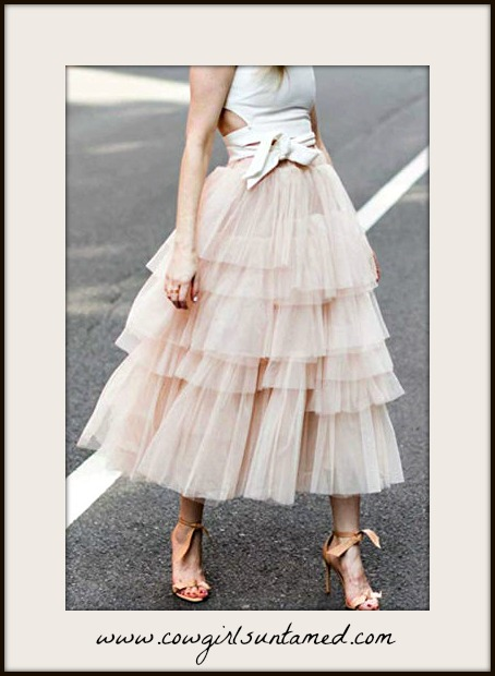 THE SPARKLY COWGIRL Tiered Pink Tulle Midi Skirt