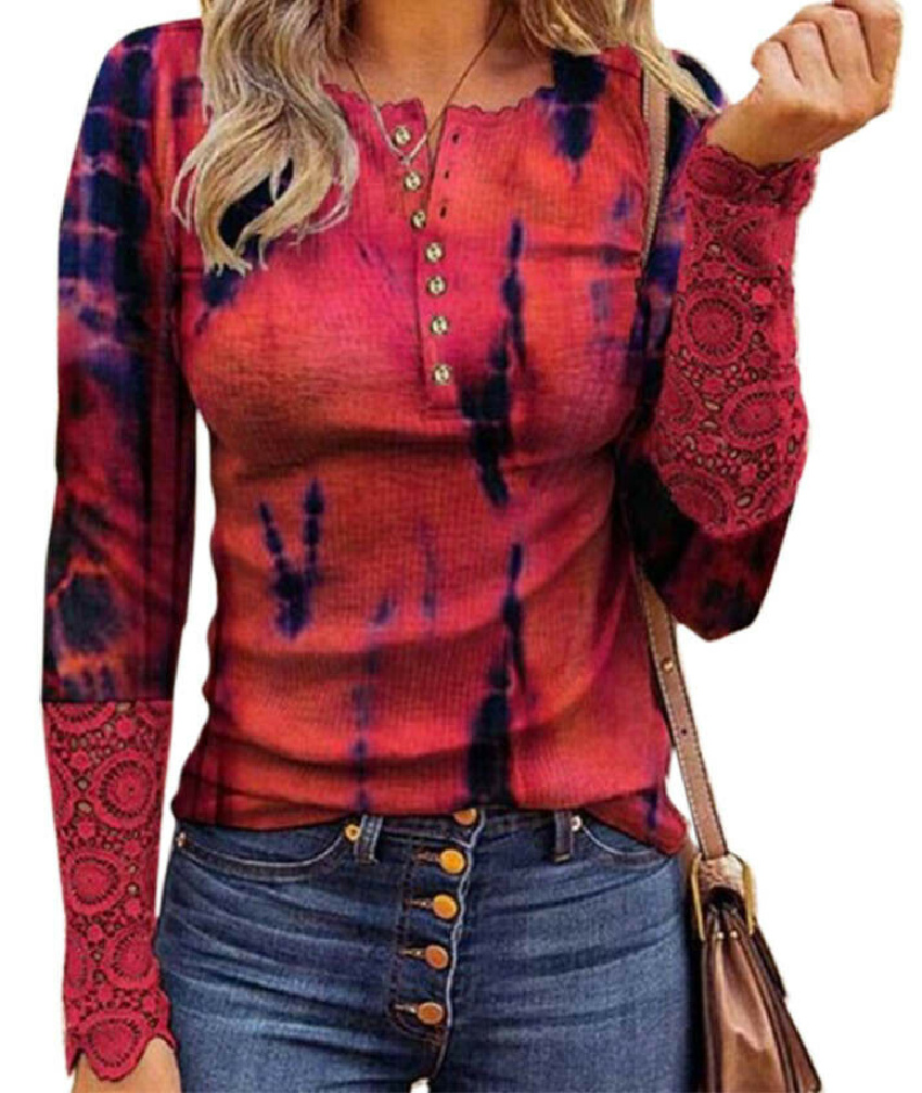 THE JENI TOP Lace Cuff Long Sleeve Pink Tie Dye Button Down Henley Style Womens Shirt S-2XL