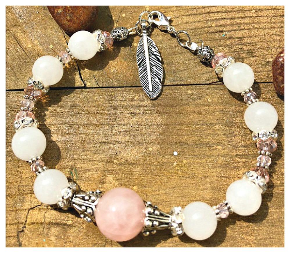 WILDFLOWER BRACELET White & Pink Gemstone Crystal Antique Silver Feather Bracelet