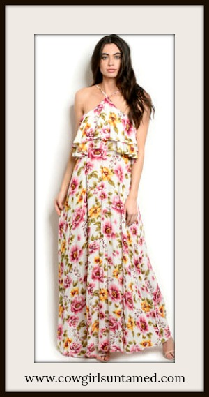 MAGNOLIAS BLOOM DRESS Pink & Yellow Floral Sleeveless Ruffle White Maxi Dress